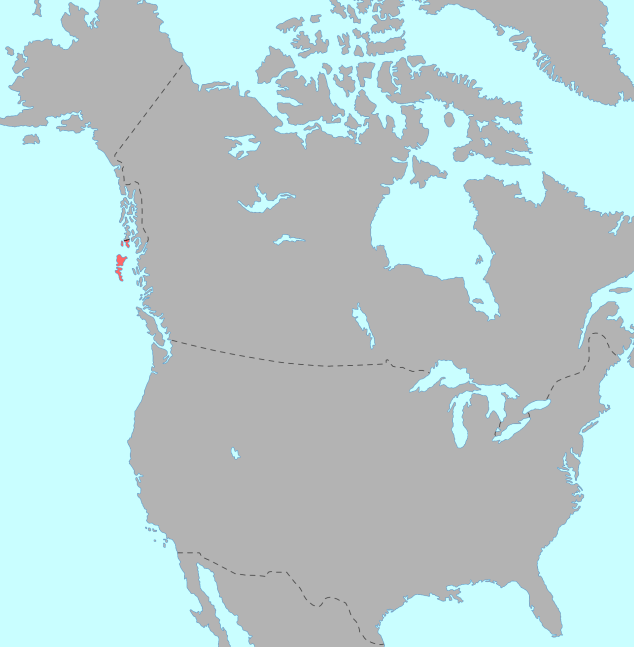 Map showing the location of the Haida region within North America